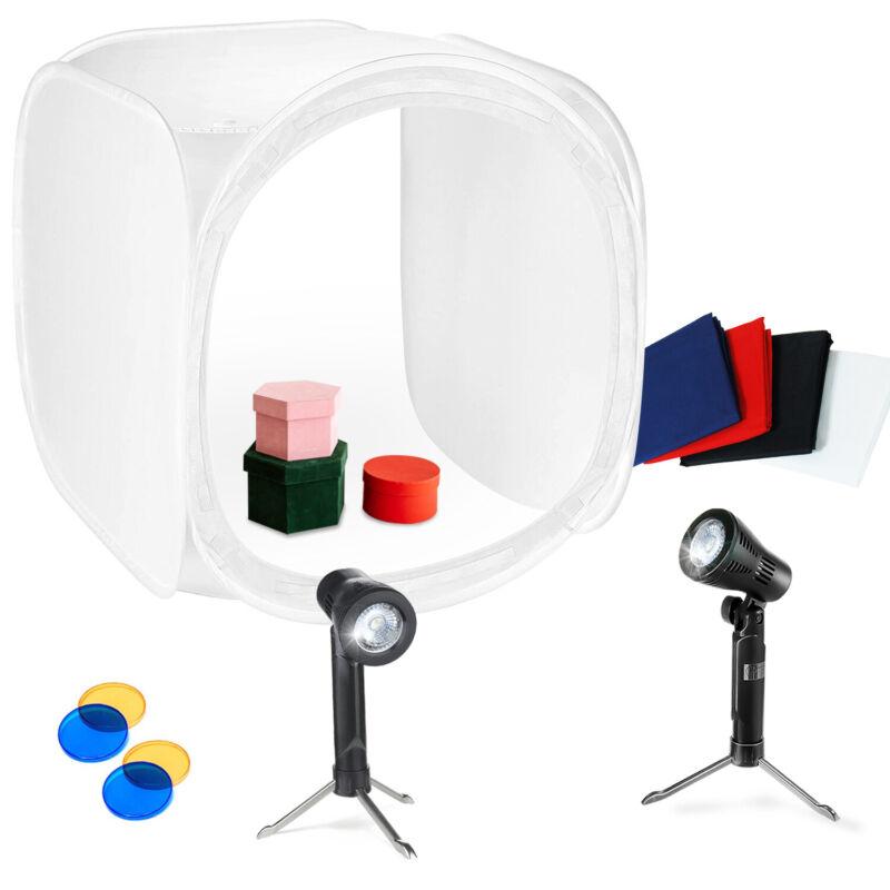 """Photography 24"""" x 24"""" Portable LED Light Box - Shooting Tent with Lighting Kit"""