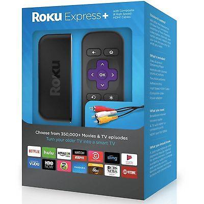 New Roku Express + Plus Digital HD Media Streamer 3710RW HDMI cable Smart TV NIB