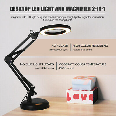 5X Magnifying Glass Desk Magnifier Lamp LED Light Reading Foldable US Black Base