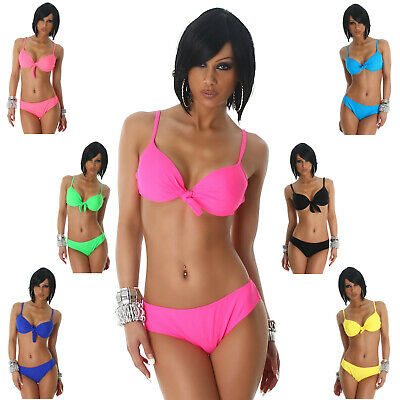 Träger-Bikini einfarbig elegant Strand Bademode Swimwear Beachwear PushUp Größe