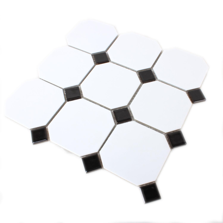 Muster keramik mosaik octagon achteck fliesen weiss - Fliesen schwarz weiay ...