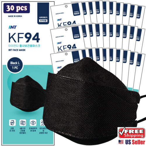 【 30 Pack 】INT KF94 Certified BLACK Face Mask,4 Layered,3D Ergonomic Design Mask