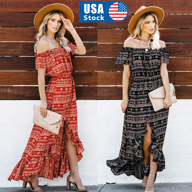 USA Women Lady Boho Kimono Sleeve Floral Long Maxi Summer Beach Dress Sundress Clothing, Shoes & Accessories