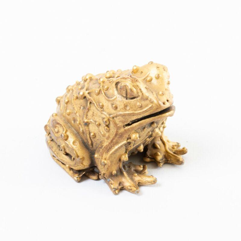 """Signed Karen Callan Brass Frog Paperweight Toad Figurine 1.25"""" Amphibian"""