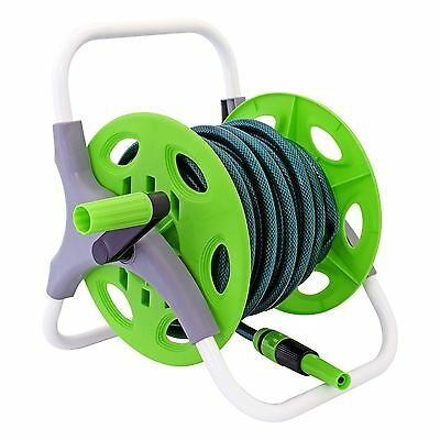 15m Complete Garden Hose Pipe Reel Set Reinforced Tough Outdoor Hosepipe Green