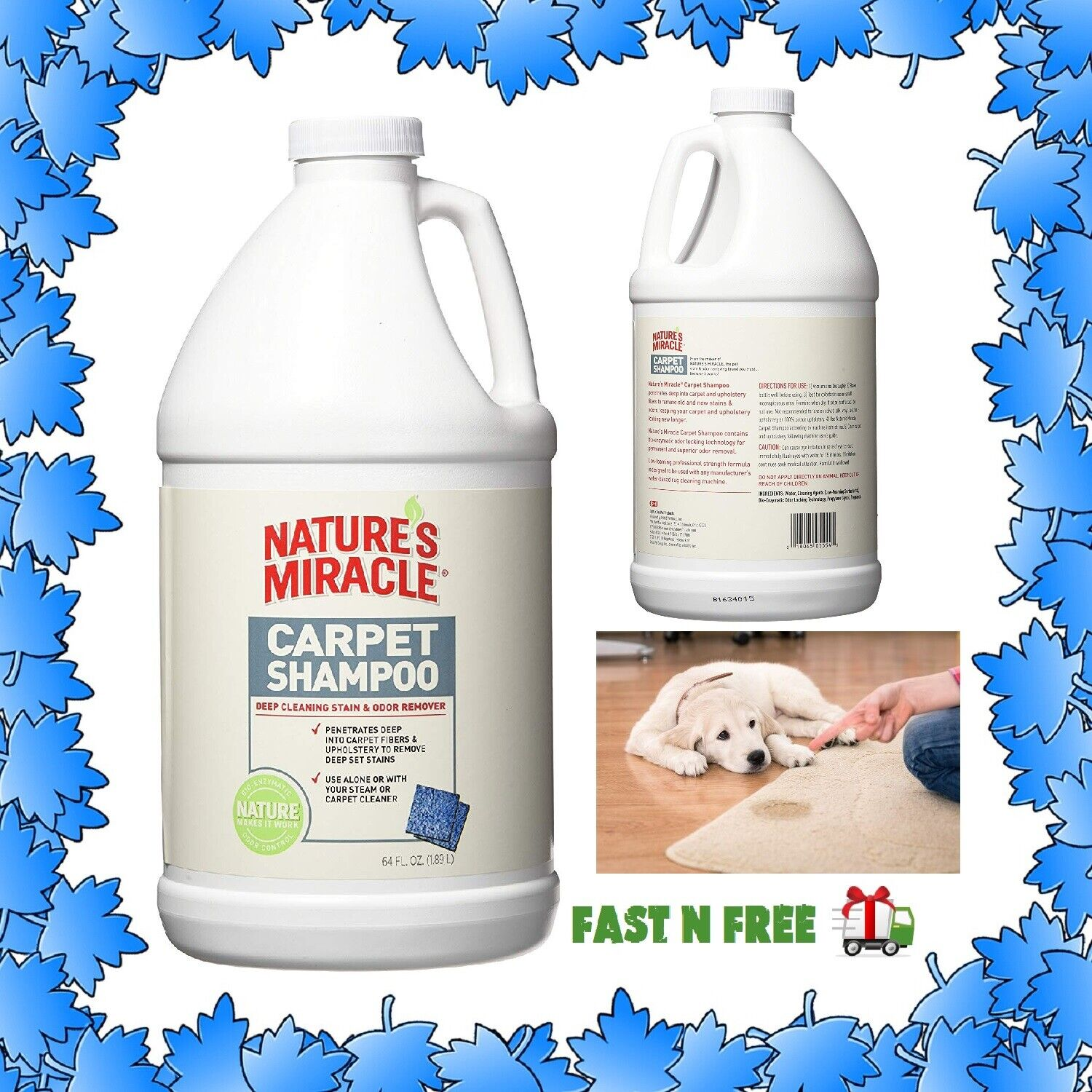 Nature's Miracle Pet Carpet Shampoo Deep Cleaning Stain and