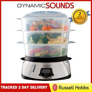 Russell Hobbs 23560 Maxicook Digital Food Steamer Rice Veg 3 Tier Cooker 10.5L
