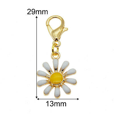 Multi-Colors Enamel Daisy Dangle Charms Pendant with Lobster Clasp (Multi Dangle Charms)