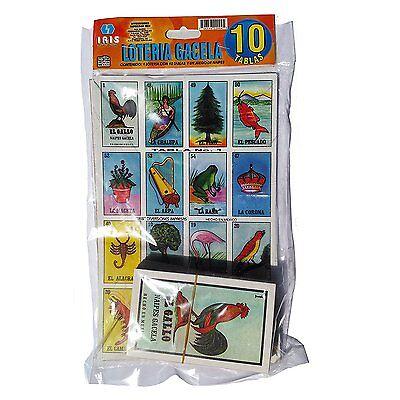 Loteria Mexicana Family Set of 10 Boards and Cards NEW Bingo Gacela El Borracho
