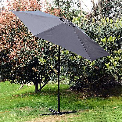 10FT Outdoor Beach SunShade Cover Patio Umbrella Market Cafe Crank Tilt Black