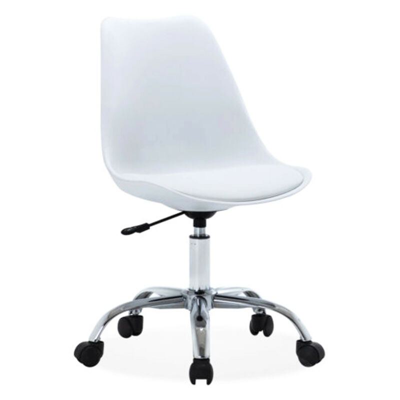 Upholstery White MidBack Office Desk Chair Faux Leather Heig