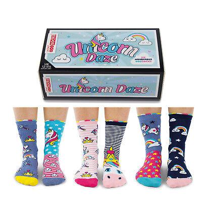 Mädchen Socken Set (Socken Einhorn und Regenbogen Oddsocks in 30,5-38,5 Strümpfe im 6er Set Mädchen)