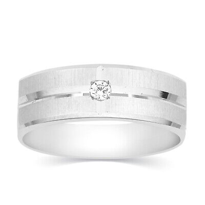 Round Cut Natural Diamond 14k White Gold Engagement Wedding Band Mens Ring