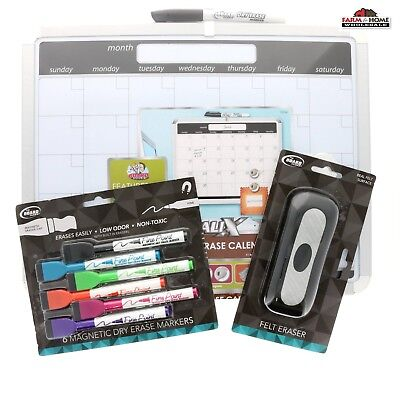 11 X 14 Dry Erase Magnetic Calender White Board Set New
