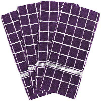 4 Piece Purple White Window Pane Kitchen Dish Towel Set Cotton New Free Shipping ()