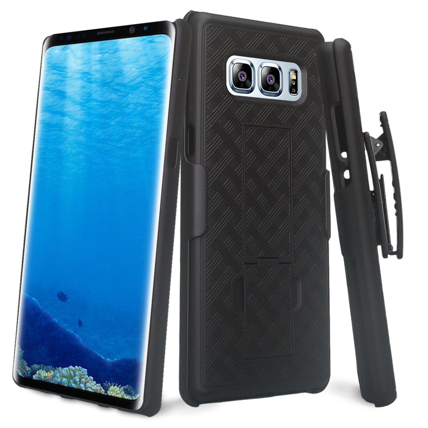 For Samsung Galaxy Note 8 - Black Holster Swivel Belt Clip H
