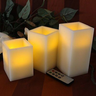 BEST SQUARE FLAMELESS LED CANDLES WITH TIMER REMOTE CONTROL, Set of 3 Unscented