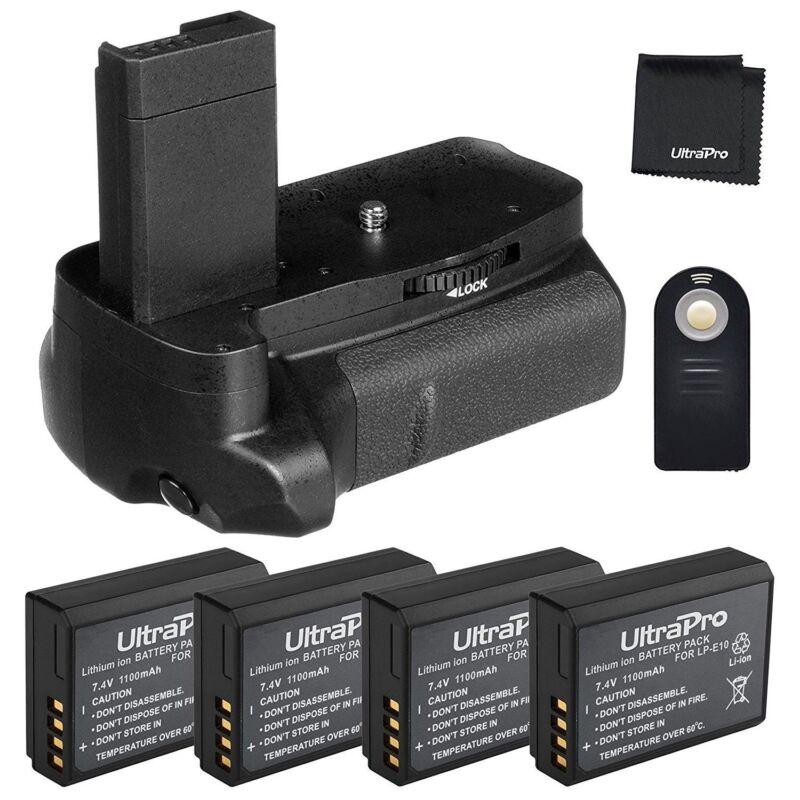 Ultrapro Battery Grip Bundle for Canon Rebel T3, T5, T6, + 4x LP-E10 Battery