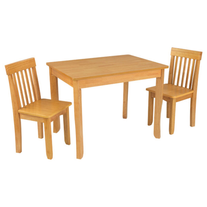 KidKraft 26637 Avalon II Wood Square Table and 2 Chairs Set, Natural Finish
