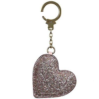 NWT KATE SPADE NEW YORK Heart Key Chain Ring Bag Charm Stone Shiny Silver - Shiny Silver Heart Keychain