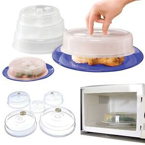 5 Microwave Covers Ventilated Food Plate Vented Splatter Guard Cover 115-225mm