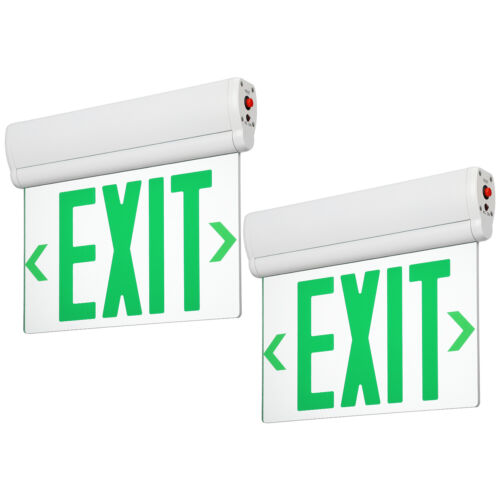 2-Pack LED Edge Lit Green Exit Sign, AC120V/277V, Rotating Clear Panel UL Listed