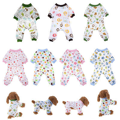 Printed Cotton Pet Sleep Jumpsuit Knitting Puppy Pajamas Pet Dog Home Clothes