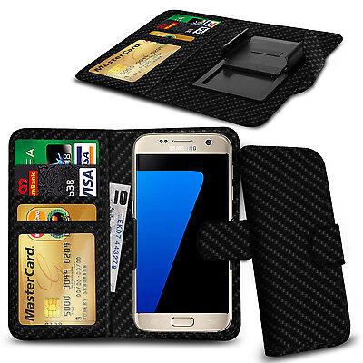 For HTC One (E8) CDMA - Various Carbon Fibre Clip Wallet Case Cover  ()