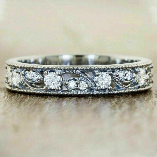 0.80Ct Round Cut Diamond Full Eternity Anniversary Ring in Solid 14k White Gold