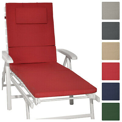 Sunlounger Cushion 200x60x5cm Garden UV Resistant Steamer Recliner Pad Red