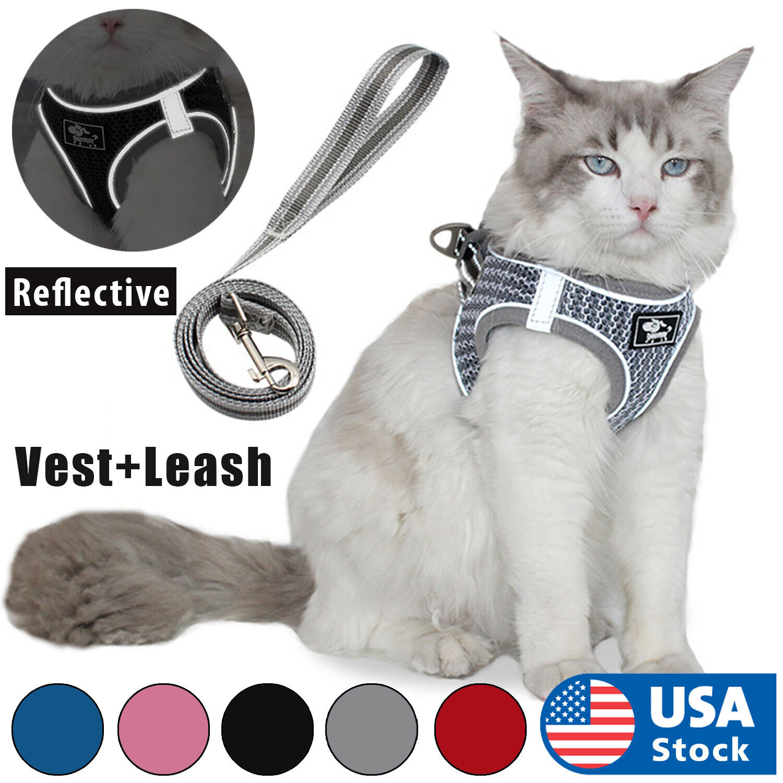 Cat Harness Reflective Walking Adjustable Vest Lightweight,  5ft Leash Cat Supplies