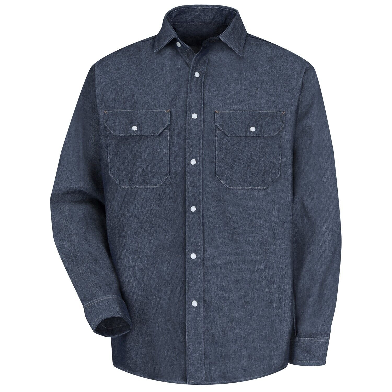 cf9253f7 Details about Red Kap Men's Long Sleeve Denim Work Shirt