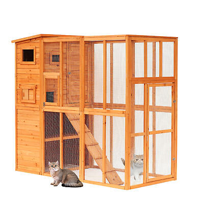 Pawhut Wooden Cat Home Enclosure Pet House Shelter Cage Outdoor Play Area Run