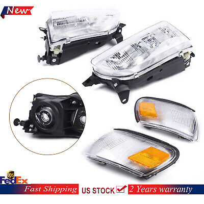 Fits 1993-1997 Toyota Corolla Parking Signal Headlights Clear Lens Headlamps Set