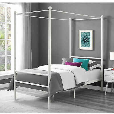 White Metal Canopy Bed - Bed Frame Twin Size Canopy Metal Princess Girls Kids Bedroom Furniture White New