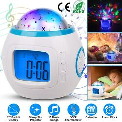 Music Starry Star Sky LED Projection Digital Alarm Clock Thermometer Calendar US