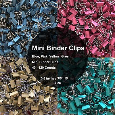 Mini Binder Clips Mix Colored 35 Paper Clamp 0.6 In Size 40-120 Per A Bag