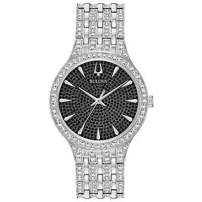 Bulova Men's Phantom Quartz 636 Swarovski Crystal Silver-Tone 40mm Watch 96A227