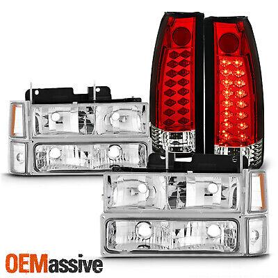 For 94-98 C/K 1500 2500 3500 Tahoe Suburban Headlights + LED Red Tail Light Pair