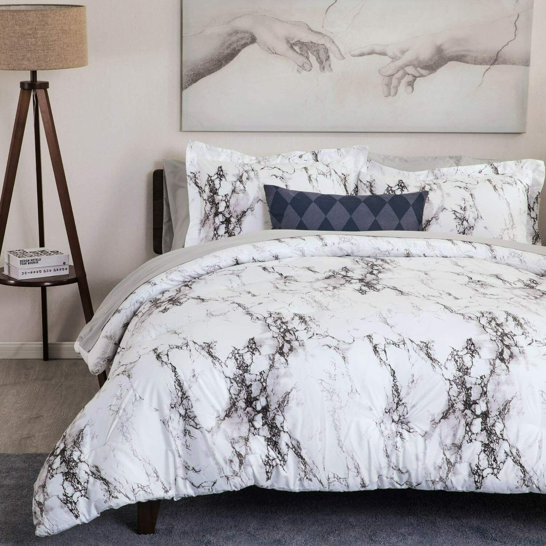 3pc white marble printed duvet cover set