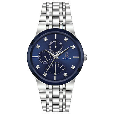 Bulova Men's Quartz Diamond Accent Silver-Tone Bracelet 40mm Watch 96D144