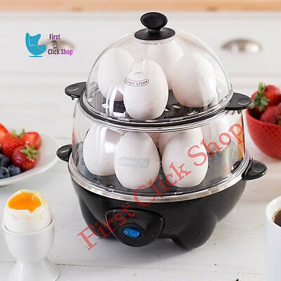 Rapid Egg Cooker Dash Hard Boiled 12 Eggs Capacity Electric Kitchen Boiler Black