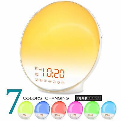 Wake Up Light Alarm Clock Lamp Radio Sunrise Fading Sunset 7 Colors Sleep Kids