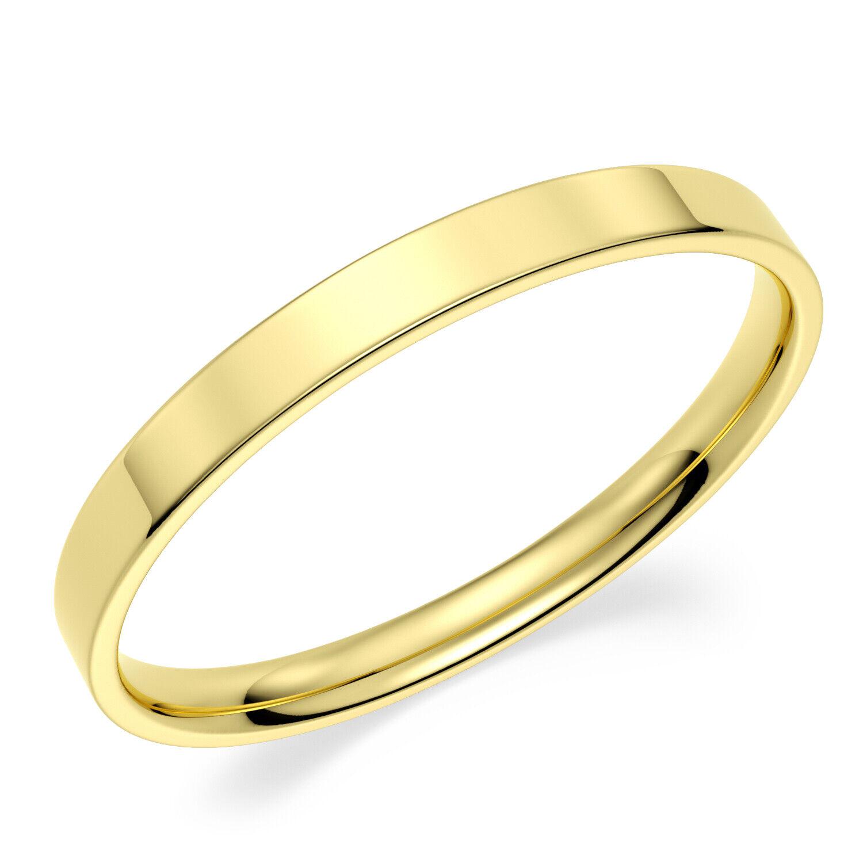 Solid 10K Yellow Gold 2mm Comfort Fit Men Women Flat Wedding Band Ring