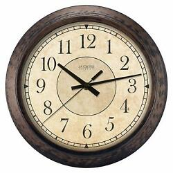 Wall Clock 14 Brown Wooden Style Distressed Silent Shabby Chic Farmhouse