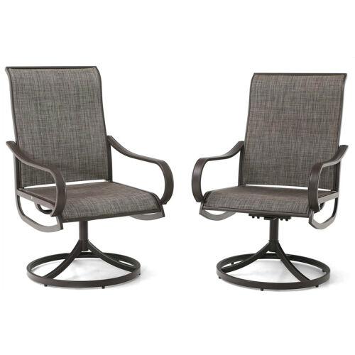 PHI VILLA Patio Chair Set of 2 Metal Rocker Swivel Chairs Outdoor Furniture