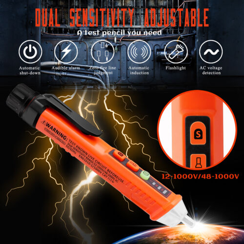 12-1000V Dual Sensitivity Electrical Tester Pen Non-Contact AC Voltage Detector