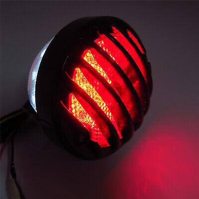 HTTMT Motorcycle Black Plastic Grille Ribbed Round LED Tail Brake Light Red Lens