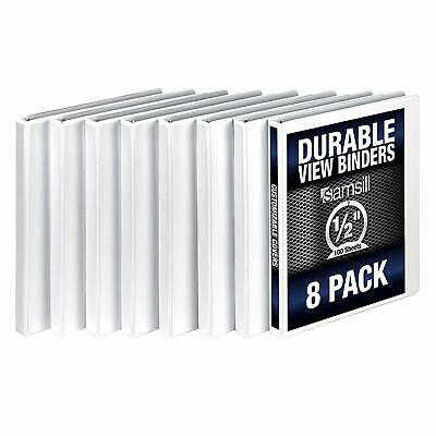 Samsill 3 Ring Durable View Binders - 8 Pack 12 Inch Round Ring