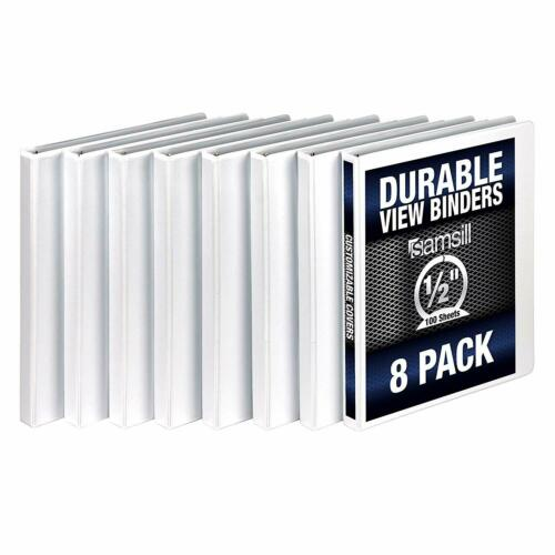 Samsill 3 Ring Durable View Binders - 8 Pack, 1/2 Inch Round